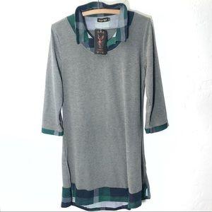 Reborn Plaid Collared Sweater Dress XL NEW